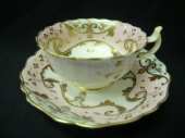 NOT AVAILABLE - Victorian cup & saucer pink/blue